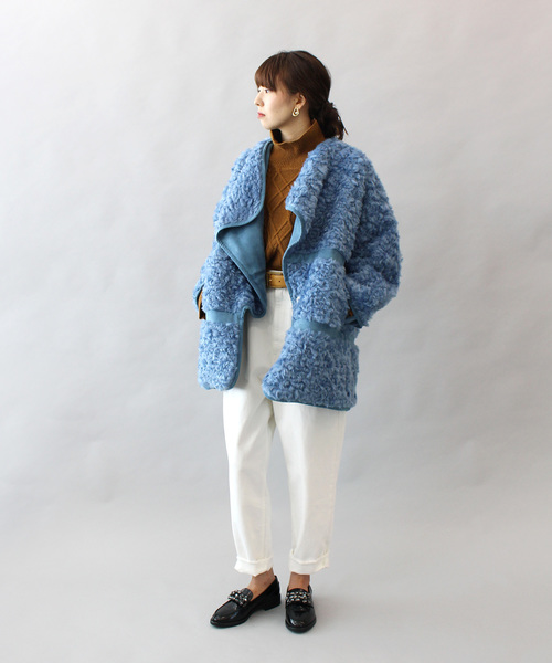 [DRESSLAVE] eco fur curl drape collar coat(エコファーボリュームコート)