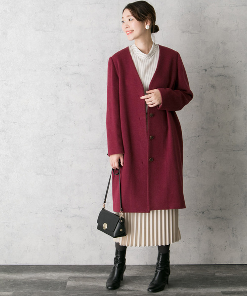 [URBAN RESEARCH ROSSO WOMEN] Vネックノーカラーコート