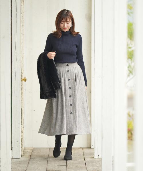[rps] グレンチェックフロントボタンスカート