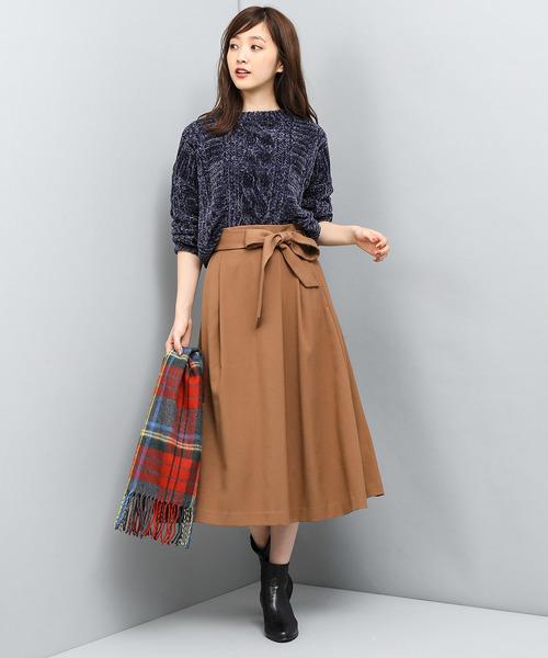 [ViS] ベルト付ミモレ丈スカート