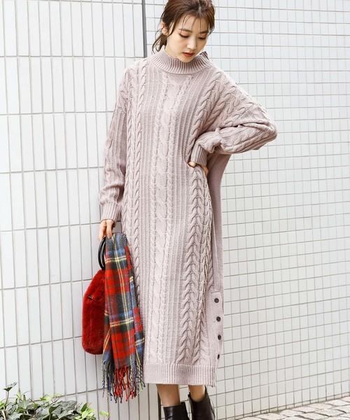 [ViS] 裾釦ロングケーブルニットワンピース