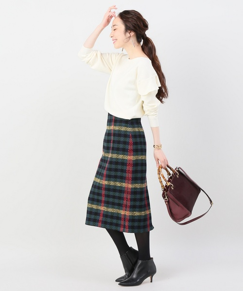 [La TOTALITE] グランチェックツイードスカート◆