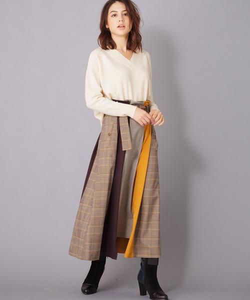 [en recre] 【GALENA】チェックロングスカート