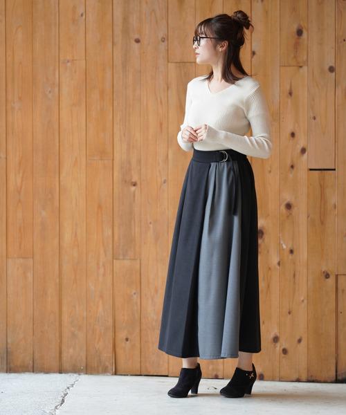 [rps] サイドベルト異素材ラップロングスカート