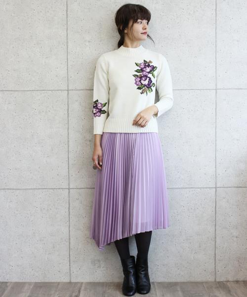 [Jines] サテン×シフォンイレギュラーヘムプリーツスカート