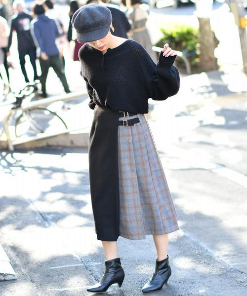 [CIAOPANIC] パターン切替スカート/チェック柄プリーツスカート