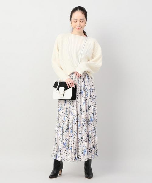 [IENA] ドットフラワープリーツスカート◆
