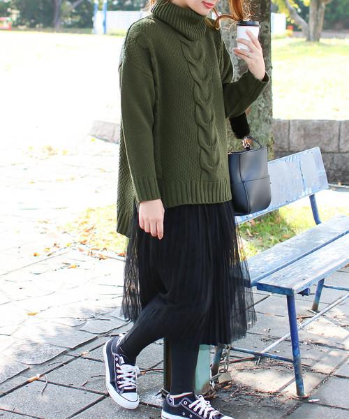 [Social GIRL] タートルケーブルニットカラーセーター