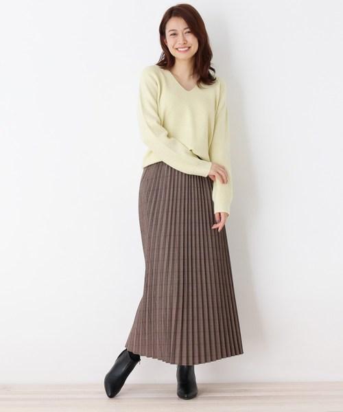 [OPAQUE.CLIP] 【洗える】グレンチェックプリーツスカート