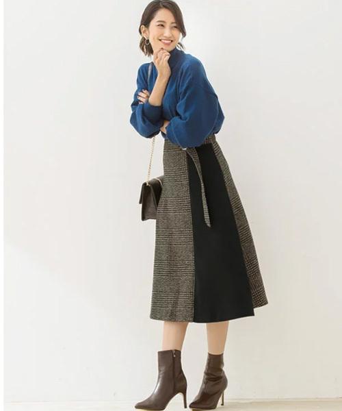 [Pierrot] グレンチェックラップ風配色スカート