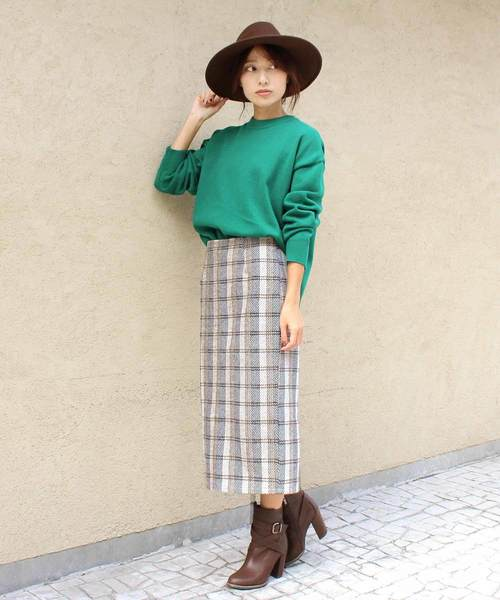 [MODE ROBE] チェックタイトスカート