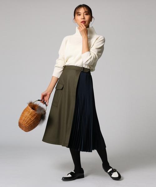 [UNTITLED] プリーツ切り替えラップ風スカート