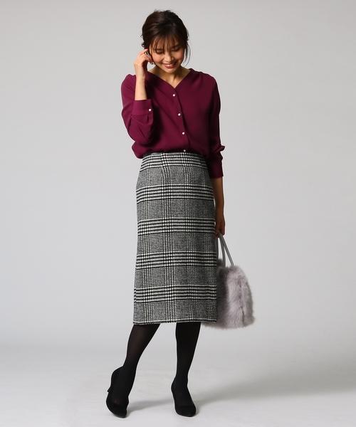 [UNTITLED] グレンチェックIラインスカート