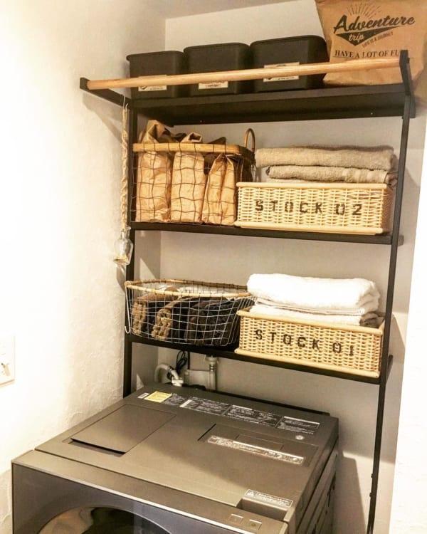 洗濯機ラックを使用した収納例12