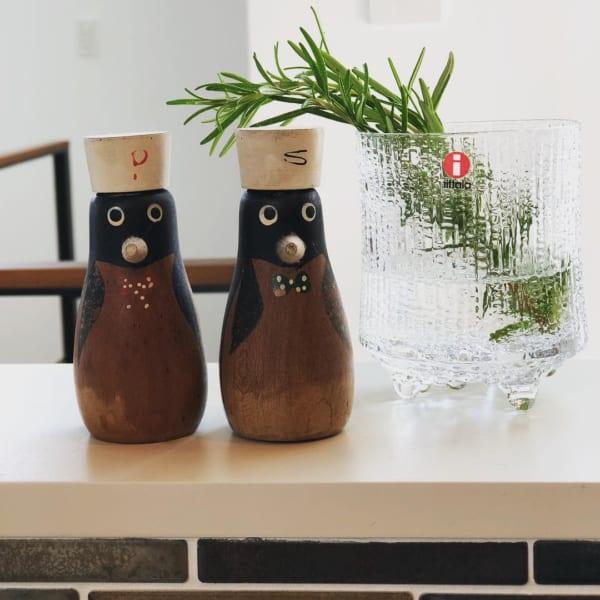 ペンギン型の木製ソルト&ペッパーセット