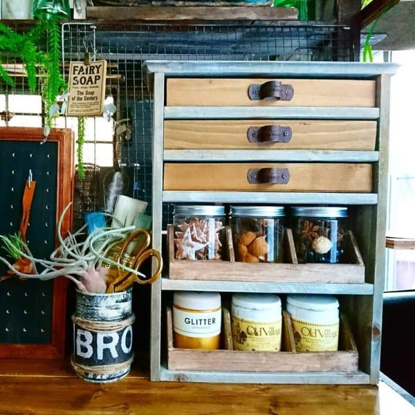 セリアの木製ロングトレーと木製パーテーションボックスで
