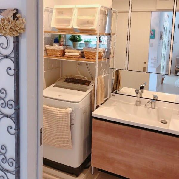 洗濯機ラックを使用した収納例14