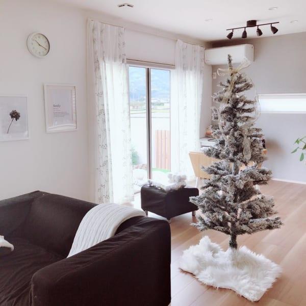 スノー加工されたクリスマスツリー