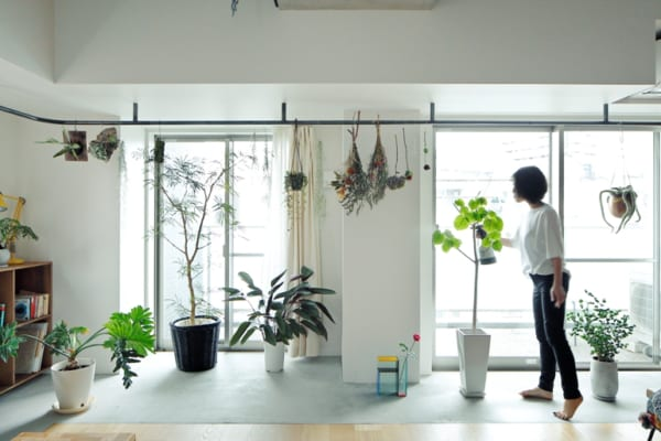 南側の広いバルコニーや土間で、増え続ける植物を愛でる暮らし