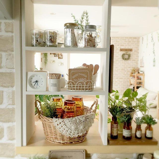 キッチンのかご収納アイデア14