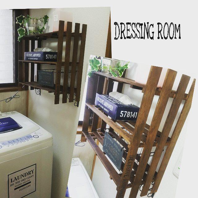 脱衣所の壁にすのこ棚を取り付け