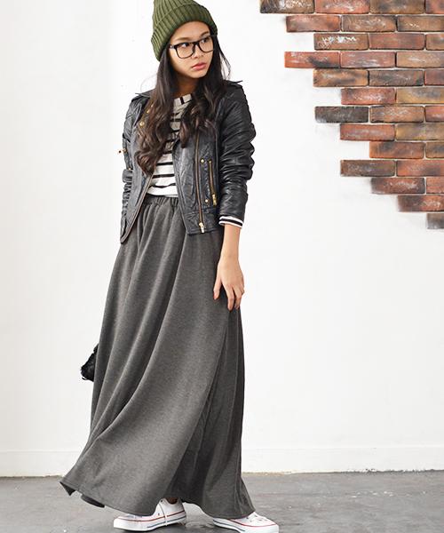 [coca] 毛布のような肌触り裏起毛フレアロングスカート2