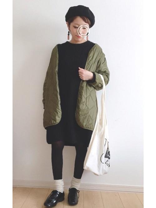 [haco!] NUSY パプコーン編みがかわいいおしゃれニットワンピース