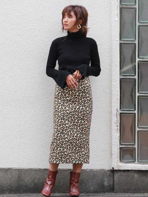 [Ungrid] レオパードタイトスカート