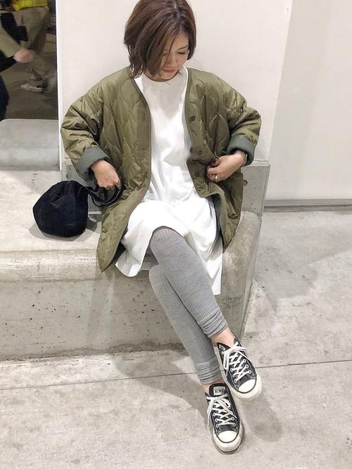 緑×ホワイトコーデ5