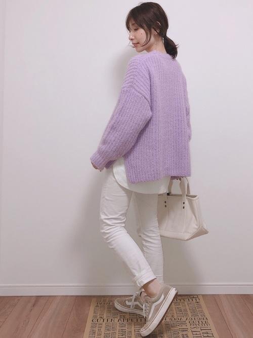 パープルのモールフェザーヤーンオーバーサイズセーター
