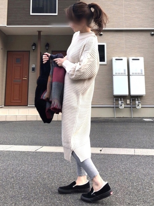 [natural couture] ワッフル編み袖ケーブルニットワンピース