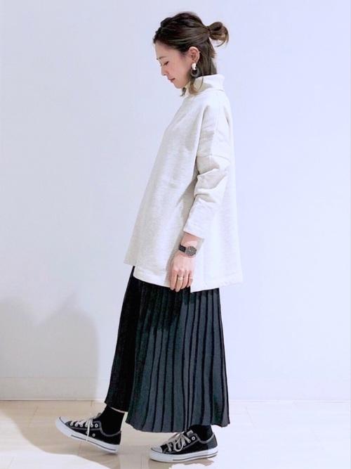 ロングニットプリーツ風スカート