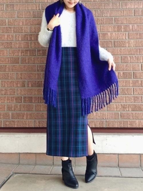 ラップ風チェックタイトスカート
