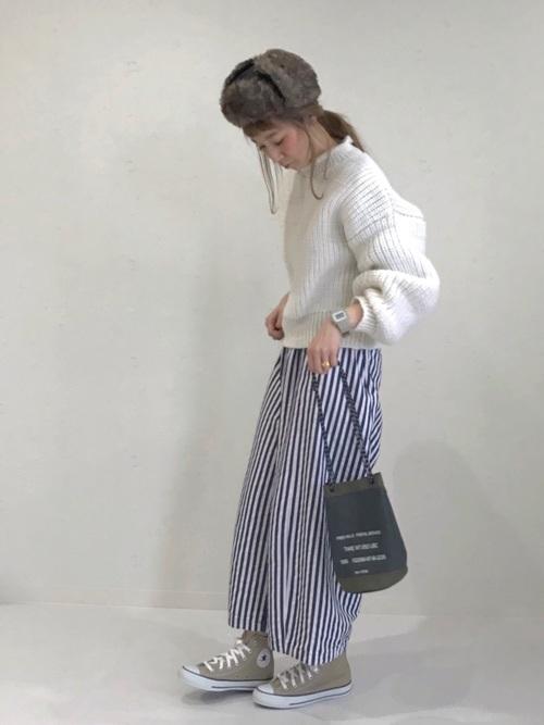 [merlot] ストライプタックワイドパンツ1302