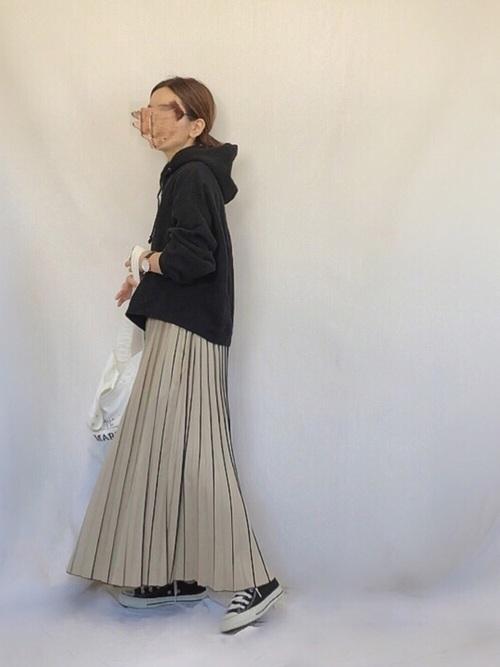 シャドウストライプ プリーツスカート