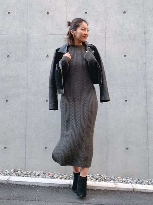 [Roomy's] Cable knit longワンピース