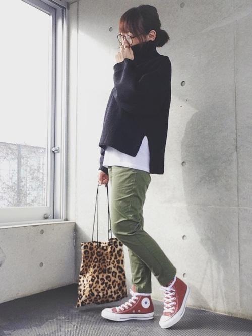 緑×レッドコーデ