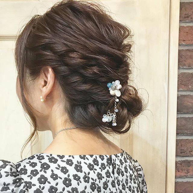 ミディアムヘア 編み込み アップ アレンジ16