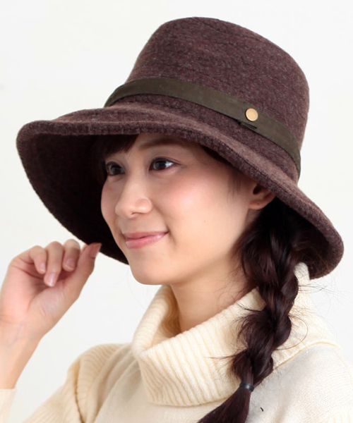 [14+(ICHIYON PLUS)] 秋冬ブレード厚布ウールつば広ハット中折れ帽