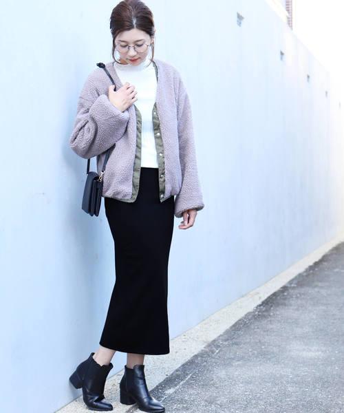 [reca] 裏起毛で暖か&ベージックデザインでヘビロテ決定◇ウエストゴム裏起毛タイトロングスカート