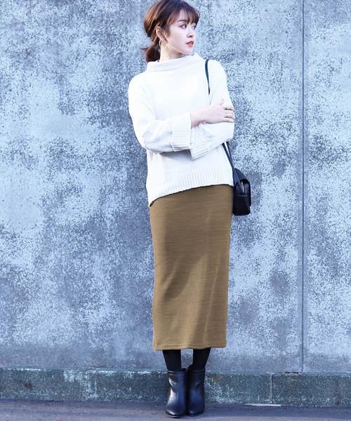 [reca] 裏起毛で暖か&ベージックデザインでヘビロテ決定◇ウエストゴム裏起毛タイトロングスカート2