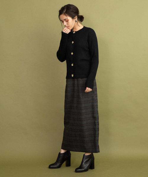 グレンチェック ハイウエストロングタイトスカート
