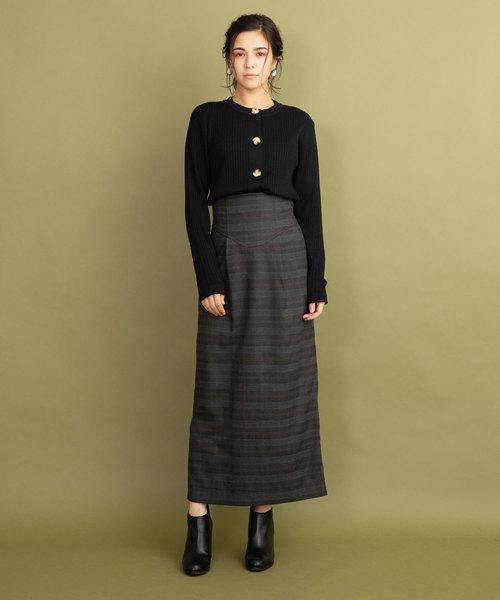 [LANDWARDS] グレンチェック ハイウエストロングタイトスカート