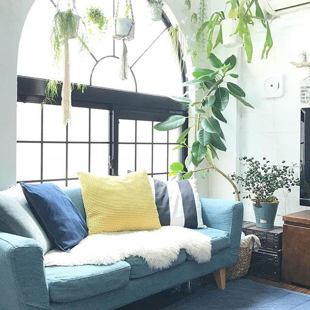 IKEA ボタニカル カラフル クッションカバー