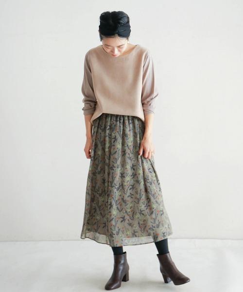 [NOMBRE IMPAIR] ボタニカルプリント ギャザースカート
