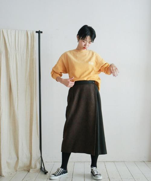 [NOMBRE IMPAIR] MIXウールコンビ 巻き風スカート