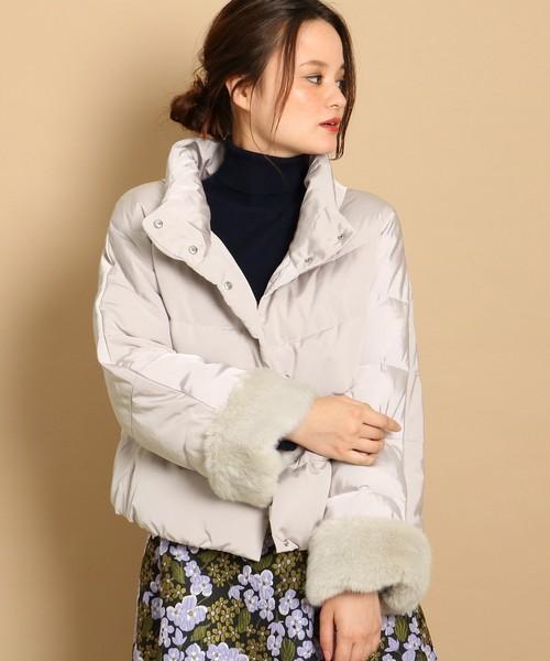 [Couture brooch] 【WEB限定サイズ(S・LL)あり】袖口ファーショートダウンコート