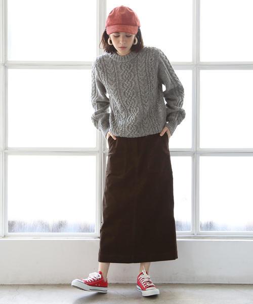 [coen] 【『MORE』2月号掲載】コーデュロイストレッチタイトロングスカート
