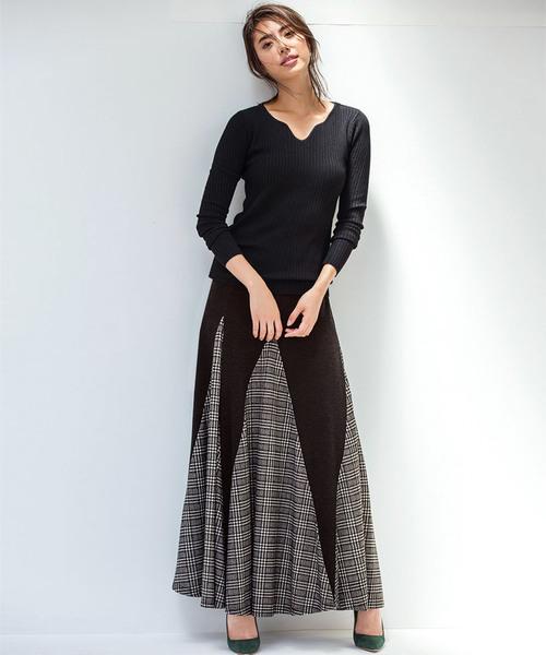 [Ranan] 裾切替フレアーロングスカート