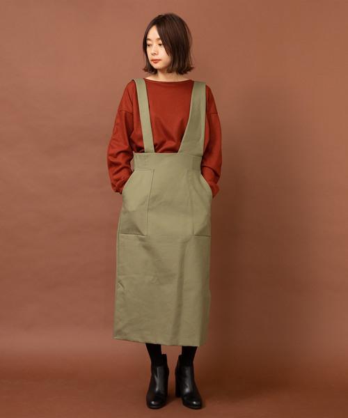 [LANDWARDS] 【Made in JAPAN】コットンダブルクロスジャンパースカート